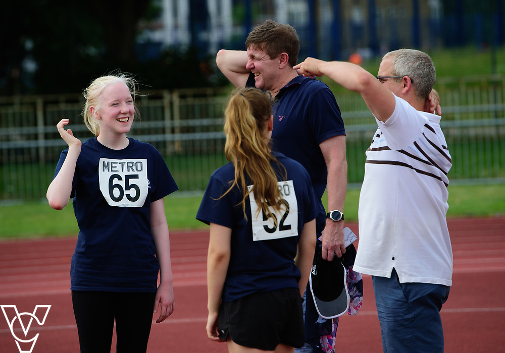 Metro Blind Sport's 2017 Athletics Open held at Mile End Stadium.  High Jump.  Emma Quigley, left, and Rebecca Blakey<br /> <br /> Picture: Chris Vaughan Photography for Metro Blind Sport<br /> Date: June 17, 2017