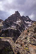 View of Nez Perce mountain, 3000m up inGrand Teton National Park, near Amphitheatre Lake, Wyoming.