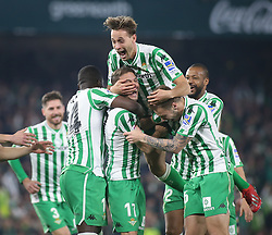 February 7, 2019 - Seville, Spain - Real Betis' Spanish midfielder Joaquin (17) celebrates with teammates scoring their second goal during the Spanish Copa del Rey (King's Cup) semi-final first leg football match between Real Betis and Valencia CF at the Benito Villamarin stadium in Seville on February 7, 2019. (Credit Image: © Raddad Jebarah/NurPhoto via ZUMA Press)