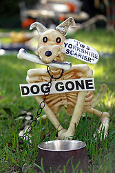 30 October 2015. New Orleans, Louisiana.<br /> The Skeleton Krewe mansion on St Charles Avenue at the corner of State Street draws crowds with its satirically spooky Halloween decorations. A Yorkshire Terrier is depicted as a 'Yorkshire Scarier.'<br /> Photo©; Charlie Varley/varleypix.com