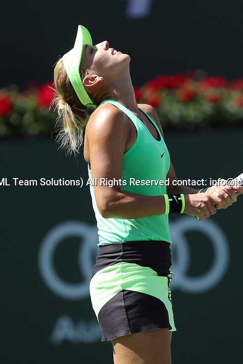 INDIAN WELLS CA - MARCH 19: Elena Vesnina ( RUS ) reacts after losing a point during the finals of the BNP Paribas Open on March 19, 2017, at the Indian Wells Tennis Gardens in Indian Wells, CA.  (Photo by Adam  Davis/Icon Sportswire)