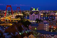 Rotterdam cityscape (Willemsbrug Bridge in background), Rotterdam, the Netherlands