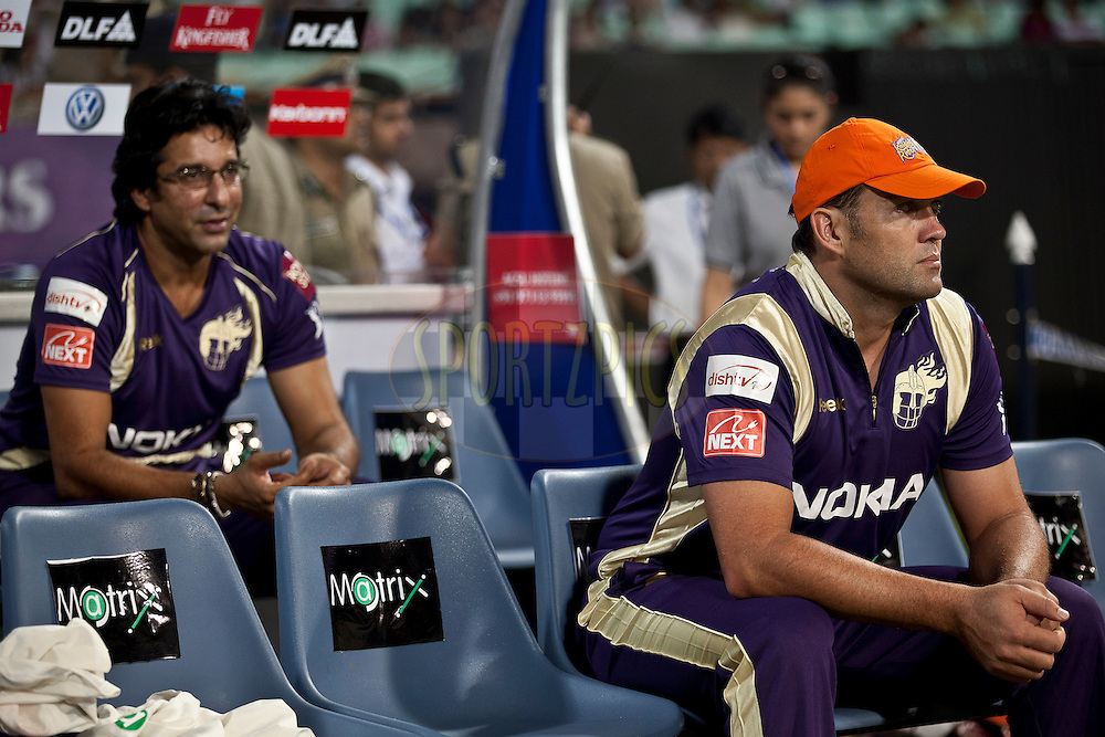 Kalis & Akram of KKR following theire team mates from dug out during match 6 of the Indian Premier League ( IPL ) between the Kolkata Knight Riders and the Deccan Chargers held at Eden Gardens Cricket Stadium in Kolkata, India on the 11th April 2011..Photo by Saikat Das/BCCI/SPORTZPICS