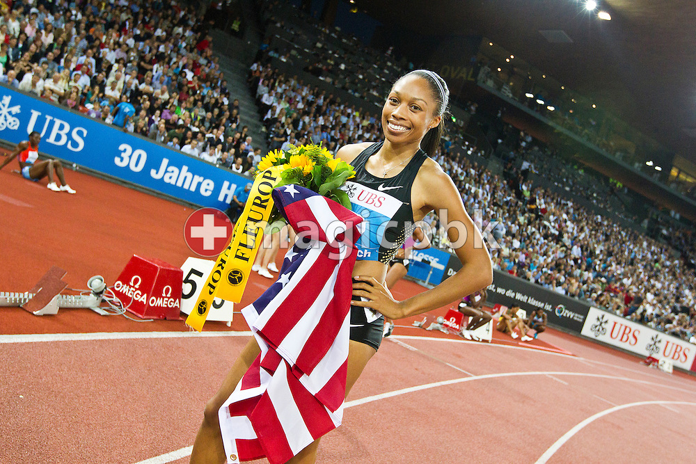 Allyson FELIX of the USA poses after winning the women's 400m during the IAAF Diamond League meeting at the Letzigrund Stadium in Zurich, Switzerland, Thursday, Aug. 19, 2010. (Photo by Patrick B. Kraemer / MAGICPBK)