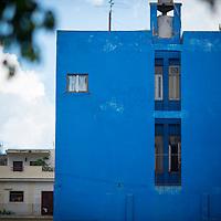 Cuba, Havana central, along el prado, architecture, havana blue
