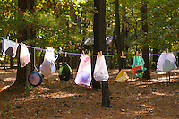 Mess kits, camping equipment, hanging to dry at camp site.