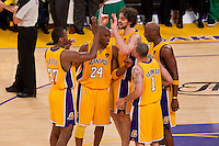 17 June 2010: Guard Kobe Bryant of the Los Angeles Lakers huddles up with his team before shooting freethrows against the Boston Celtics during the second half of the Lakers 83-79 championship victory over the Celtics in Game 7 of the NBA Finals at the STAPLES Center in Los Angeles, CA.