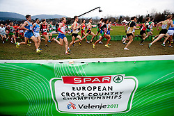 Athletes during the Senior Men's race during the 18th SPAR European Cross Country Championships Velenje 2011, on December 11, 2011 in Stadium Ob jezeru, Velenje, Slovenia. (Photo By Vid Ponikvar / Sportida.com)