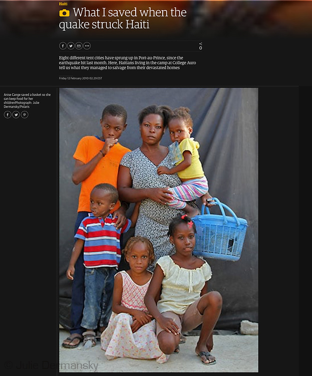 Photo essay for the Guardian shot after the 2010 earthquake: What I saved when the quake struck Haiti https://www.theguardian.com/world/gallery/2010/feb/10/haiti-natural-disasters
