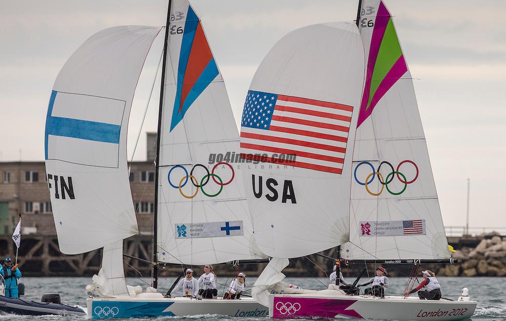 Match racing:<br /> Tunnicliffe Anna, Capozzi Deborah, Vandemoer Molly O'Bryan, (USA, Match Race)<br /> Kanerva Silja, Wulff Mikaela, Lehtinen Silja, (FIN, Match Race)<br /> <br /> 2012 Olympic Games <br /> London / Weymouth