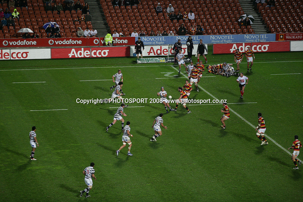 General view from Sky TV camera position. Air NZ Cup, Waikato v Auckland, Waikato Stadium, Hamilton, Saturday 30 August 2008. Waikato won 34-13. Photo: Stephen Barker/PHOTOSPORT