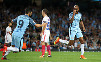 Football - 2016 / 2017 Champions League - Qualifying Play-Off, Second Leg: Manchester City [5] vs. Steaua Bucharest [0]<br /> <br /> Fabian Delph of Manchester City celebrates scoring the first goal with Nolito of Manchester City during the match, at the Ethihad Stadium.<br /> <br /> COLORSPORT/LYNNE CAMERON