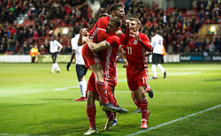 WREXHAM, WALES - Wednesday, March 20, 2019: Wales' Ben Woodburn celebrates scoring his teams winning goal during an international friendly match between Wales and Trinidad and Tobago at the Racecourse Ground. (Pic by Laura Malkin/Propaganda)