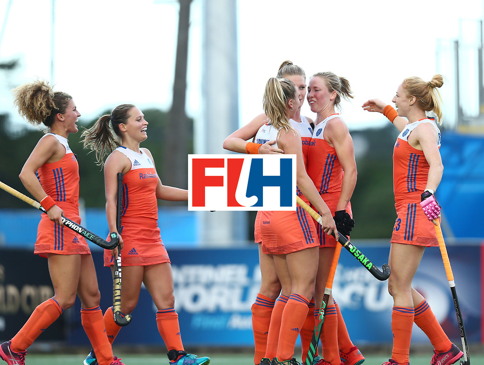 New Zealand, Auckland - 20/11/17  <br /> Sentinel Homes Women&rsquo;s Hockey World League Final<br /> Harbour Hockey Stadium<br /> Copyrigth: Worldsportpics, Rodrigo Jaramillo<br /> Match ID: 10299 - NED vs KOR<br /> Photo: (13) van MAASAKKER Caia celebraiting with (6) LEURINK Laurien and (17) van den ASSEM Ireen, (11) VERSCHOOR Maria
