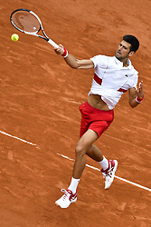 May 30, 2018 - Paris, France - NOVAL DJOKOVIC of Serbia returns a shot during the men's singles second round match against Jaume Munar of Spain at the French Open Tennis Tournament 2018 in Paris, France. Djokovic won 7:6, 6:4, 6:4. (Credit Image: © Chen Yichen/Xinhua via ZUMA Wire)