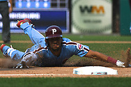 June 14, 2018 - Philadelphia, PA, U.S. - PHILADELPHIA, PA - JUNE 14: Philadelphia Phillies Infield J.P. Crawford (2) slides into third during the MLB baseball game between the Philadelphia Phillies and the Colorado Rockies on June 14, 2018 at Citizens Bank Park in Philadelphia, PA. The Phillies won 9-3. (Photo by Andy Lewis/Icon Sportswire) (Credit Image: © Andy Lewis/Icon SMI via ZUMA Press)