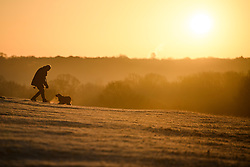 © Licensed to London News Pictures. 19/01/2020. London, UK. A man walks his dog at sunrise in a frost covered landscape at sunrise in Richmond Park in west London on a bright and freezing Winter morning. Photo credit: Ben Cawthra/LNP