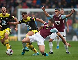 Che Adams of Southampton (L) gets past James Tarkowski of Burnley - Mandatory by-line: Jack Phillips/JMP - 10/08/2019 - FOOTBALL - Turf Moor - Burnley, England - Burnley v Southampton - English Premier League