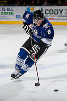 KELOWNA, CANADA -FEBRUARY 8: Mitch Skapski #8 of the Victoria Royals skates with the puck against the Kelowna Rockets on February 8, 2014 at Prospera Place in Kelowna, British Columbia, Canada.   (Photo by Marissa Baecker/Getty Images)  *** Local Caption *** Mitch Skapski;