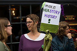 © Licensed to London News Pictures. 04/08/2015. London, UK. Protesters from local and women's groups across London demonstrate outside the new Jack the Ripper museum at 12 Cable Street, Shadwell, east London. The planning application for the museum stated that the museum would celebrate the historic, current and future contribution of women of the East End of London. The museum had been scheduled to open today, but remains closed.  Photo credit : Vickie Flores/LNP