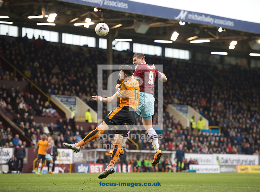 Sam Vokes of Burnley (right) scores his team's 1st goal to make it 1-0 during the Sky Bet Championship match at Turf Moor, Burnley<br /> Picture by Russell Hart/Focus Images Ltd 07791 688 420<br /> 19/03/2016