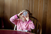 Madeline Chaney eats at a restaurant on the Oregon coast.