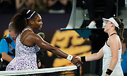 Serena Williams of the United States and Tamara Zidansek of Slovenia at the net after their second round match at the 2020 Australian Open, WTA Grand Slam tennis tournament on January 22, 2020 at Melbourne Park in Melbourne, Australia - Photo Rob Prange / Spain ProSportsImages / DPPI / ProSportsImages / DPPI
