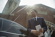 Japan's former Prime Minister Yukio Hatoyama leaves after his visit to the Seodaemun Prison History Hall in Seoul August 12, 2015. The Seodaemun Prison History Hall was a prison where Japan had imprisoned Korean fighters for independence during Japan's colonial rule of Korea from 1910-1945. Photo by Lee Jae-Won (SOUTH KOREA) www.leejaewonpix.com/
