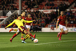 Andre Gray of Burnley scores a goal before it is given as offside - Mandatory byline: Jack Phillips / JMP - 07966386802 - 20/10/2015 - FOOTBALL - The City Ground - Nottingham, Nottinghamshire - Nottingham Forest v Burnley - Sky Bet Championship
