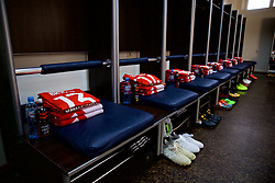 TBILSI, GEORGIA - Friday, October 6, 2017: Wales shirts laid out in the dressing room before the 2018 FIFA World Cup Qualifying Group D match between Georgia and Wales at the Boris Paichadze Dinamo Arena. (Pic by David Rawcliffe/Propaganda)