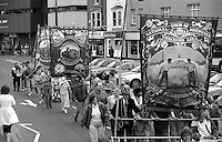 Prince of Wales and Barnsley Area Road Transport Branch banners. 1994 Yorkshire Miners Gala. Doncaster.