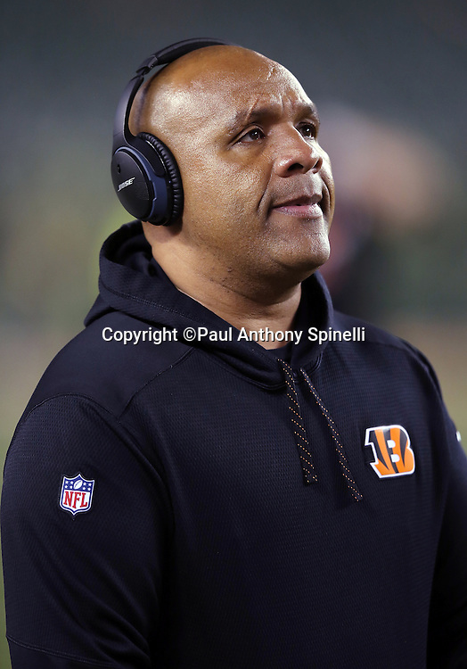 Cincinnati Bengals offensive coordinator Hue Jackson looks on before the NFL AFC Wild Card playoff football game against the Pittsburgh Steelers on Saturday, Jan. 9, 2016 in Cincinnati. The Steelers won the game 18-16. (©Paul Anthony Spinelli)