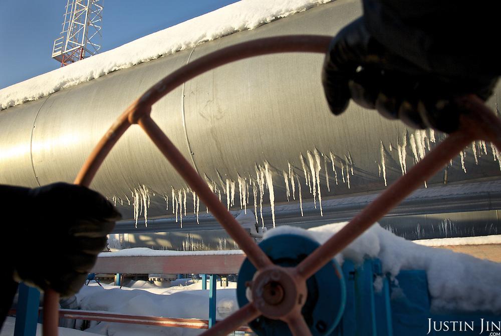 Icy gas pipeline in Novy Urengoi, Siberia, Russia.