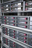 Close-up of computer network hardware in server room
