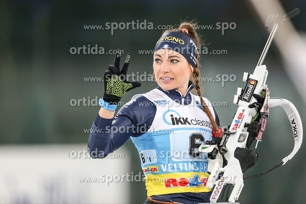 28.12.2015, Veltins Arena, Gelsenkirchen, GER, IBU Weltcup Biathlon, auf Schalke, im Bild Dorothea Wierer (Italien/IT) // during the IBU Biathlon World Cup at Veltins Arena in Gelsenkirchen, Germany on 2015/12/28. EXPA Pictures &copy; 2015, PhotoCredit: EXPA/ Eibner-Pressefoto/ Kohring<br /> <br /> *****ATTENTION - OUT of GER*****