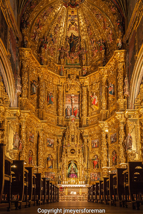 the gold Baroque style altar in the Renaissance style, Catholic Church of St. Mary of the Assumption, Navarrete La Rioja Spain