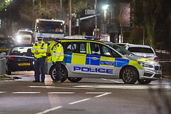© Licensed to London News Pictures. 16/02/2020. London, UK. Uniformed police officers maintain a cordon at the scene of a multiple stabbing in Barking. Photo credit: Peter Manning/LNP