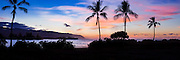 North Oahu coatline and Kaena Point at sunset panorama