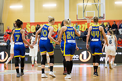 Players of Romania during basketball match between National teams of Slovenia and Romania in 4. round of FIBA Women's EuroBasket 2019 Qualifiers, on February 14, 2018 in Dvorana Gimnazija Celje - Center, Slovenia. Photo by Urban Urbanc / Sportida