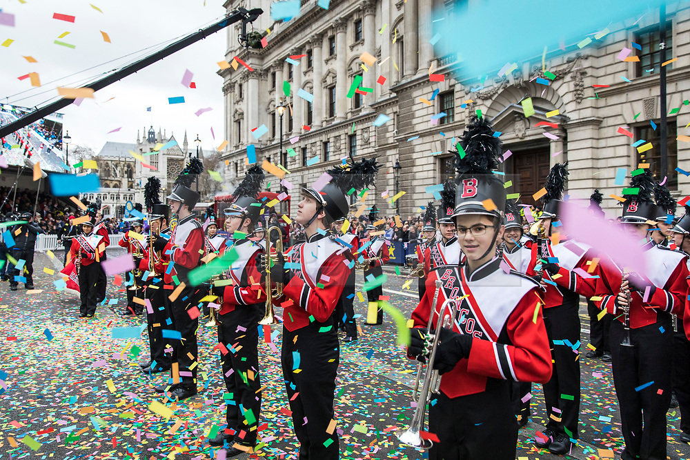 © Licensed to London News Pictures. 01/01/2018. London, UK. A marching band at the New Year's Day Parade in Central London. Photo credit: Rob Pinney/LNP