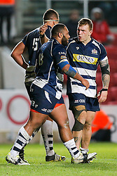 Bristol Rugby replacement Jamal Ford-Robinson celebrates with Flanker Max Crumpton after scoring a try - Mandatory byline: Rogan Thomson/JMP - 22/01/2016 - RUGBY UNION - Ashton Gate Stadium - Bristol, England - Bristol Rugby v Ulster A - British & Irish Cup.