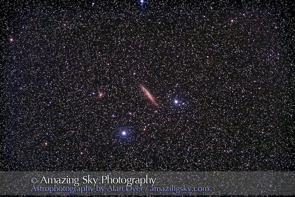NGC 4945 galaxy in Centaurus. Taken with 4in Astro-Physics refractor at f/6 with field flattener and Hutech-modified Canon 5D camera at ISO 400 for stack of 4 x 16 minute exposures. Taken from Coonabarabran, NSW, Australia, April 23, 2007.