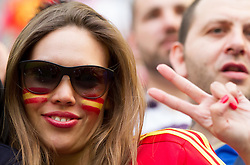Beautiful fan of Spain during the UEFA EURO 2012 group C match between Spain and Italy at The Arena Gdansk on June 10, 2012 in Gdansk, Poland.  (Photo by Vid Ponikvar / Sportida.com)