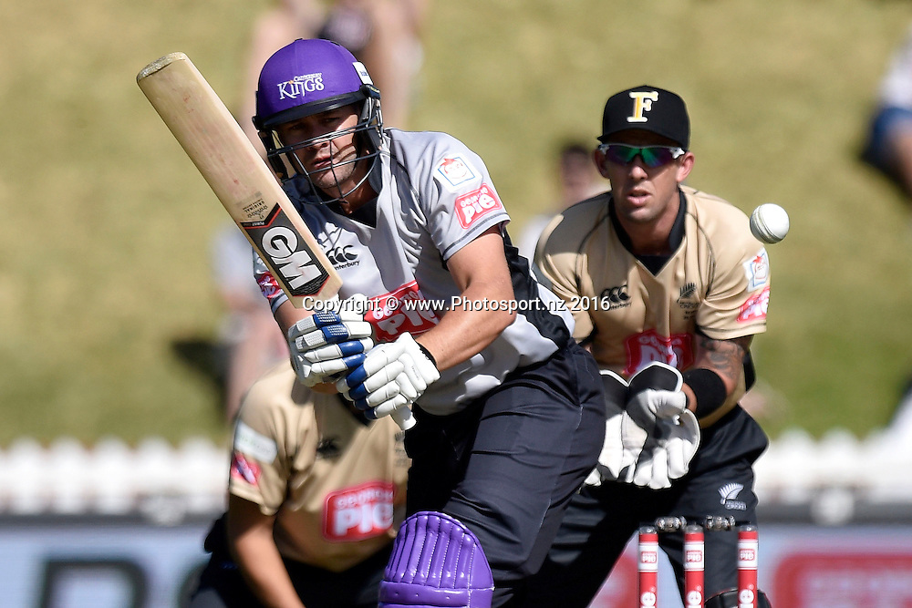 Peter Fulton of the South Island plays a shot watched by Luke Ronchi keeper for North Island during the North Island vs South Island cricket match at the Basin Reserve in Wellington on Sunday the 28th of February 2016. Copyright Photo by Marty Melville / www.Photosport.nz