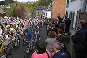 Belgium, Liege - Sunday, April 26, 2009: The peloton climbs the Cote de Sainte Roche  during the Liège-Bastogne-Liège 2009 cycle race.(Image by Peter Horrell / http://peterhorrell.com)