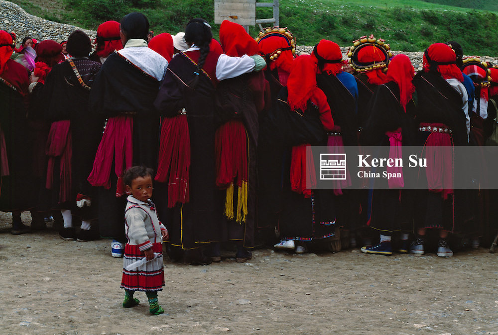 Tibetan crowd, Tibet, China