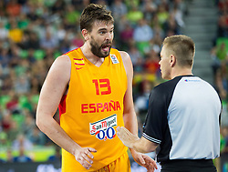 Marc Gasol #13 of Spain complains to referee Damir Javor of Slovenia during basketball match between National teams of Spain and France in Semifinals at Day 17 of Eurobasket 2013 on September 20, 2013 in Arena Stozice, Ljubljana, Slovenia. (Photo by Vid Ponikvar / Sportida.com)