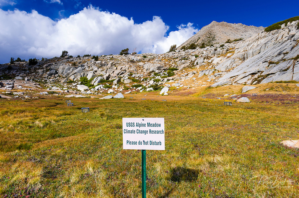 USGS meadow climate research sign in Dusy Basin, Kings Canyon National Park, California USA
