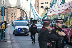 © Licensed to London News Pictures. 30/10/2017. London, UK. Demonstrators protesting against fuel emmission levels have blocked Tower Bridge. Photo credit : Tom Nicholson/LNP