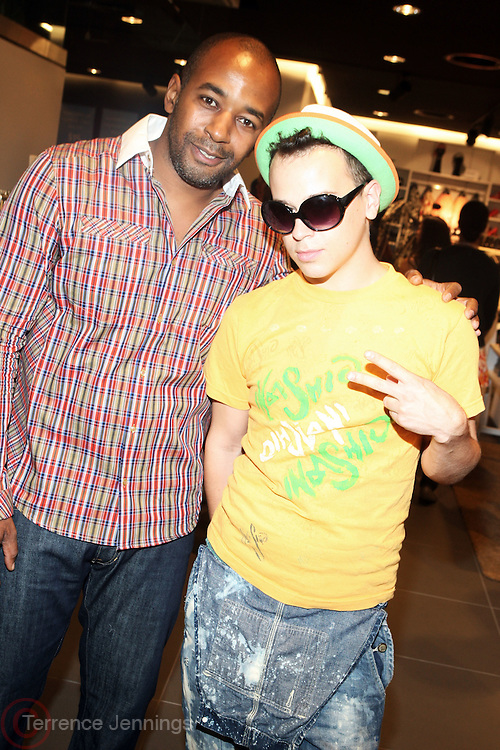 29 July 2010-New York, NY- l to r: Tony Evertt and Fashion Designer Indashio at The H&M and Uptown Magazine Celebration of the grand re-opening of the H&M Harlem Store with a VIP preview with music, food and 25% off the evenings purchases held at H&M harlem on July 29, 2010 in Harlem, New York City. Photo Credit: Terrence Jennings